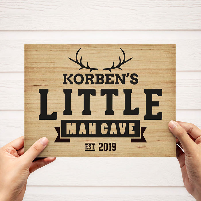 "Personalized Solid Wood ""Little Man Cave"" Sign"