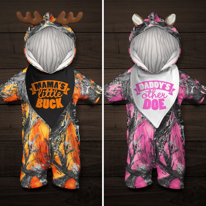 "The Short-sleeve Huntsie with ""Mama's Little Buck"" or ""Daddy's Other Doe"" Bib - Camo Baby Jumpsuit with Front Zipper, Hood and Ears or Antlers"