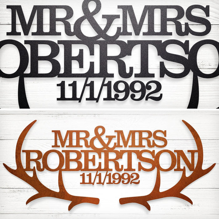 """Mr & Mrs"" Personalized Steel Sign"