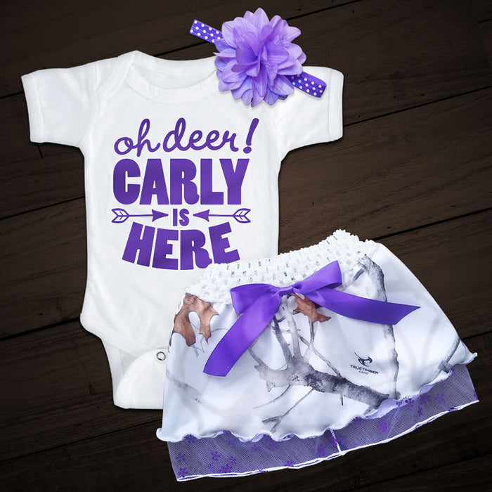 Personalized OH DEER! Snow Camo and Purple Skirt Set