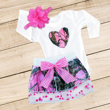 Pink Camo Heart Skirt Set