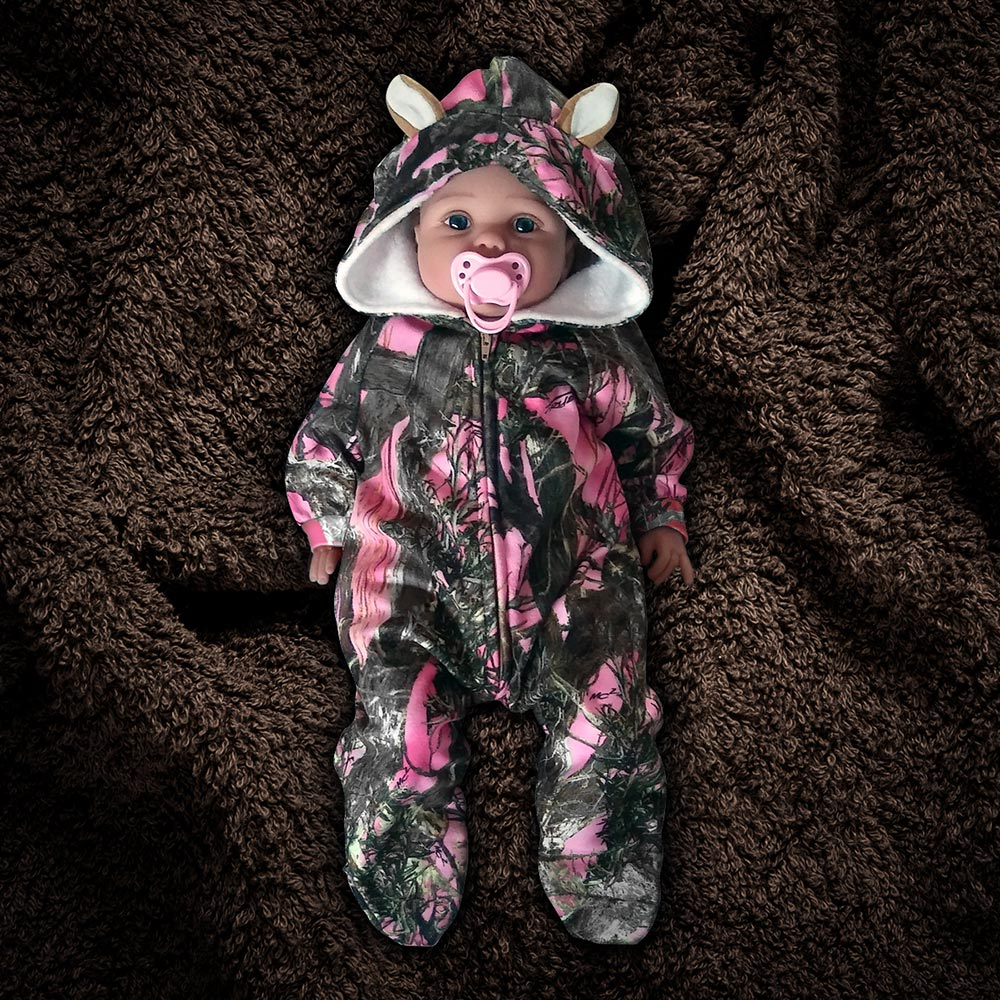 The Huntsie - Pink Camo Fleece Baby Jumpsuit with Hood and Ears