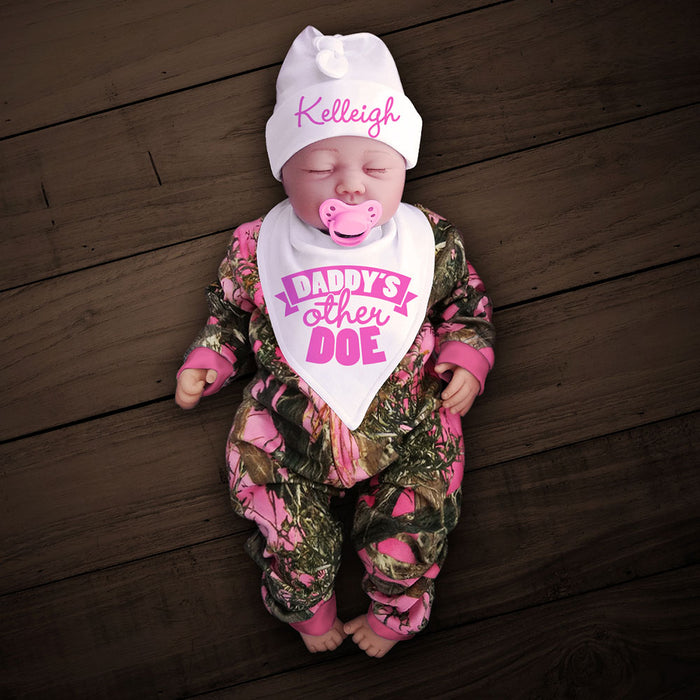 Pink Camo Zip Onesie with Personalized Hat & DADDY'S OTHER DOE Bib