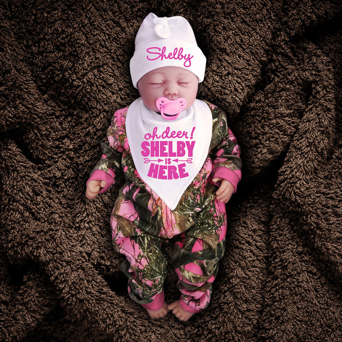 Pink Camo Zip Onesie with Personalized Hat & Bib