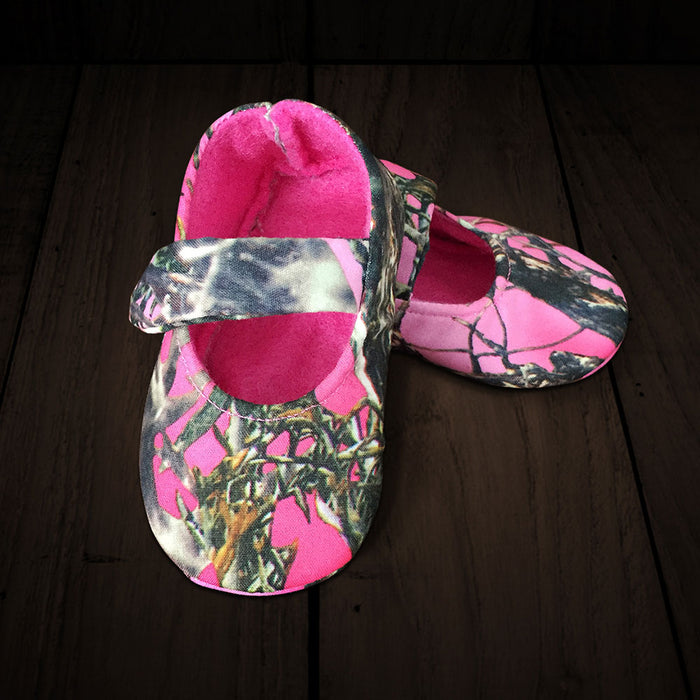 Baby's Slip-on Shoes - Pink Camo with Velcro Strap, Soft Pink Lining
