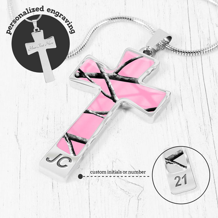Pink Camo Cross Necklace