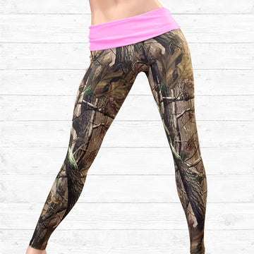 Camo Leggings with Pink Waistband
