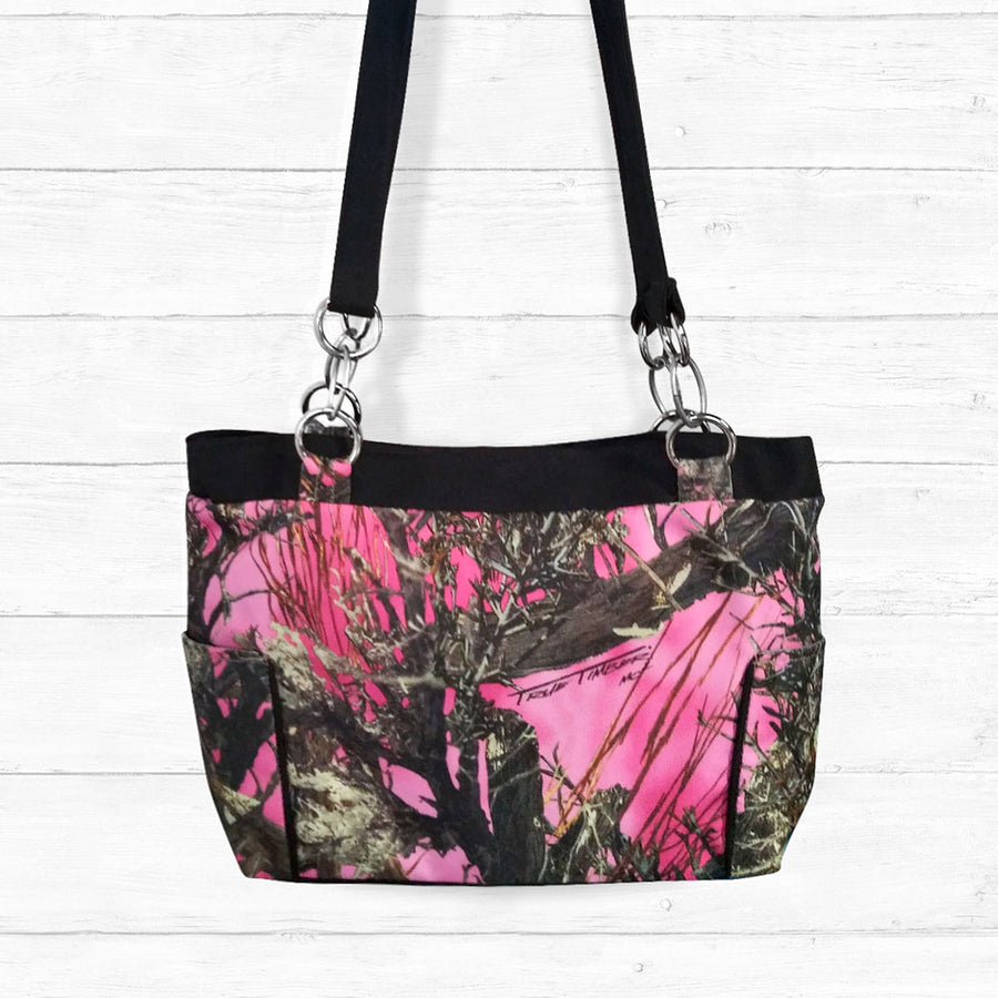 Pink Camo Handbag with Black Trim