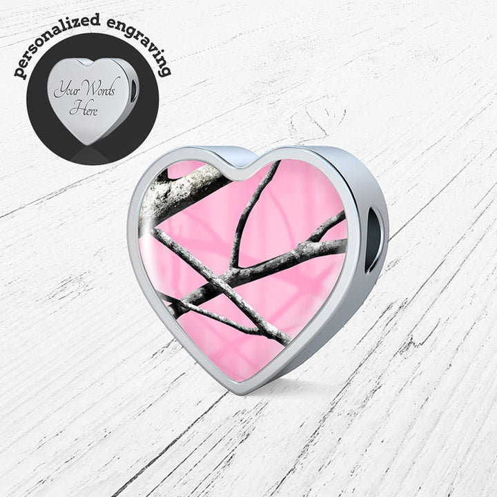 Pink Camo Heart Charm Only