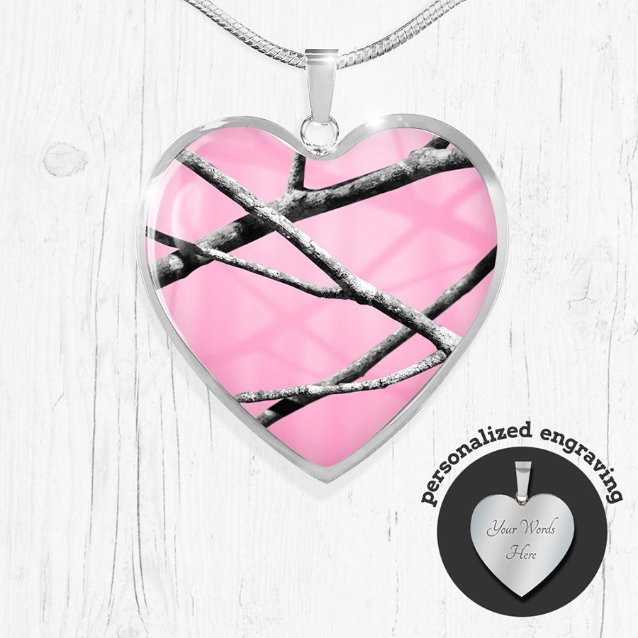 Pink Camo Heart Pendant Necklace