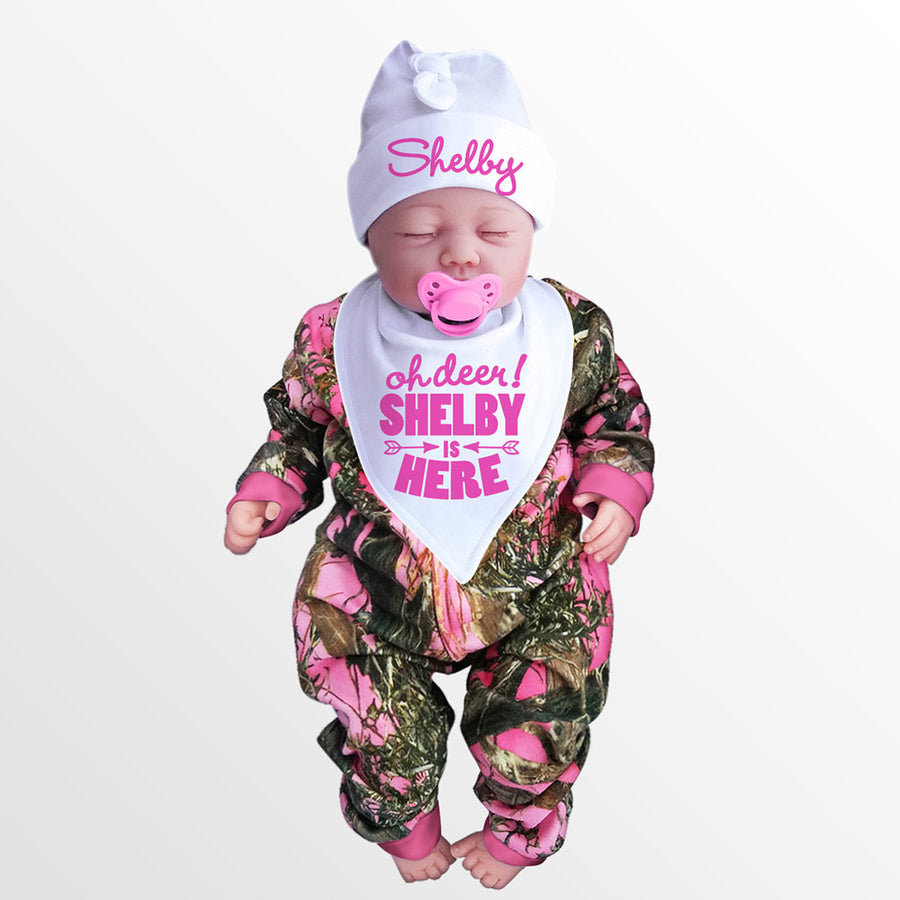 Pink Camo Baby's Jumpsuit with Personalized OH DEER! Hat & Bib
