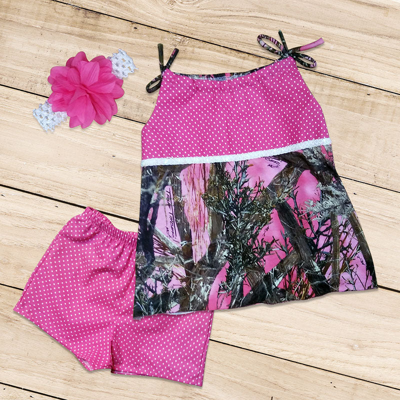Pink Camo and Polka-dot Set
