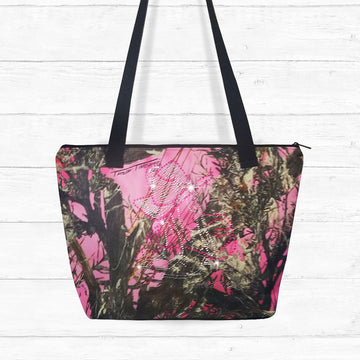 Pink Camo Zip-up Shoulder Bag with Rhinestones