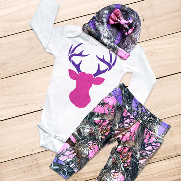 Pink & Purple Buck 3-piece Camo Set