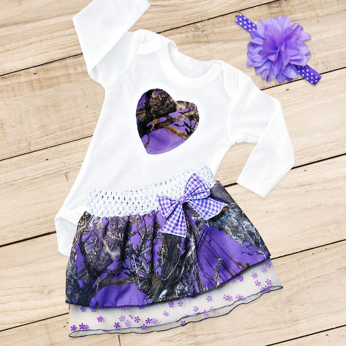 Purple Camo Heart Skirt Set