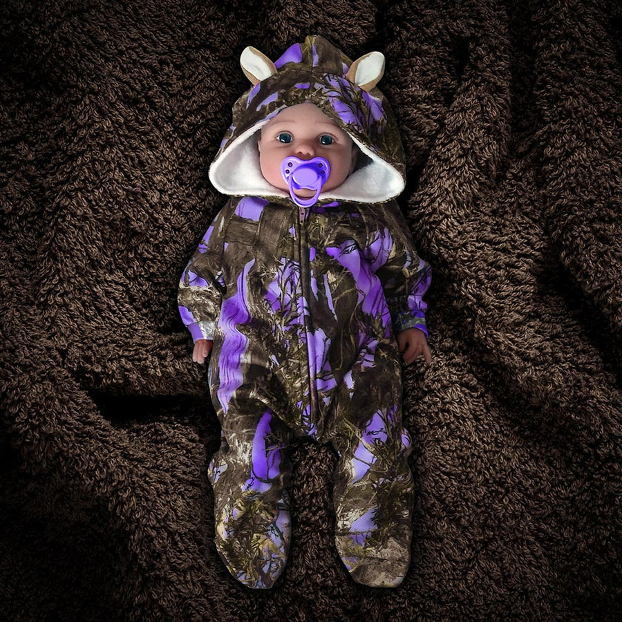 The Huntsie - Purple Camo Fleece Baby Jumpsuit with Hood and Ears