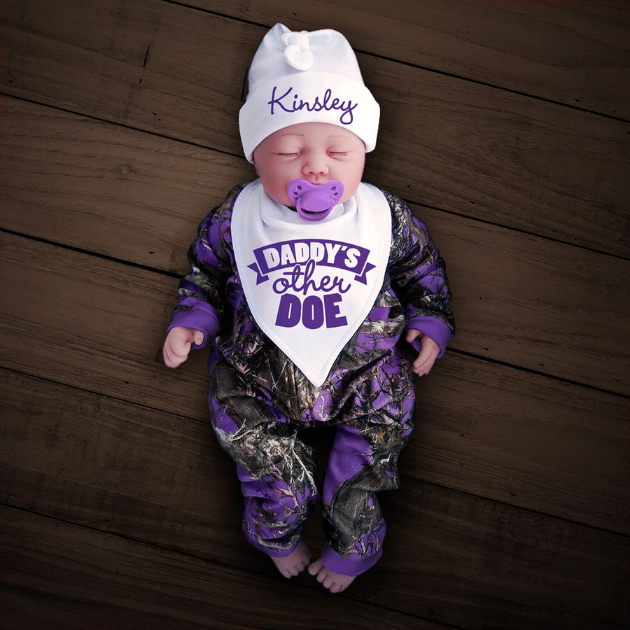 Purple Camo Zip Onesie with Personalized Hat & DADDY'S OTHER DOE Bib