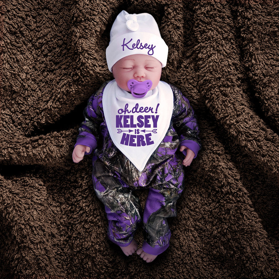 Purple Camo Zip Onesie with Personalized OH DEER! Hat & Bib