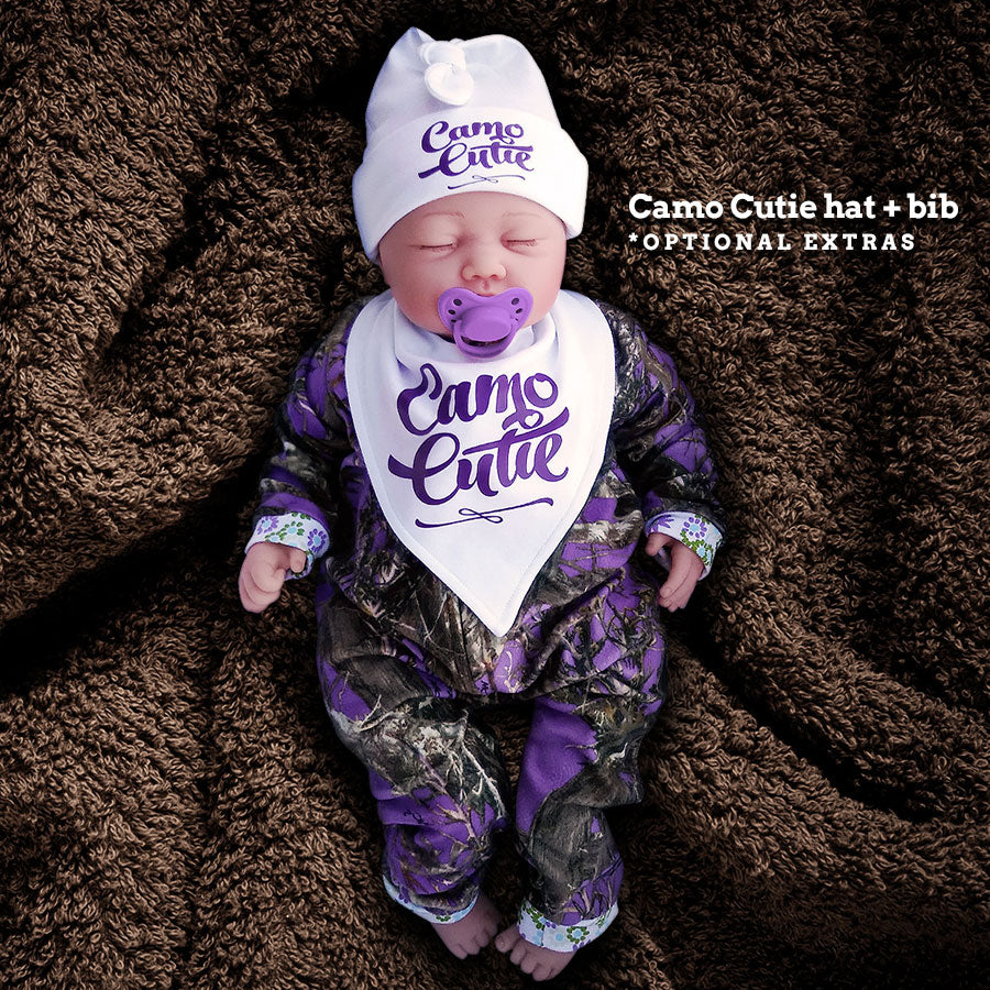 Camo Baby Jumpsuit with Flower Power Cuffs