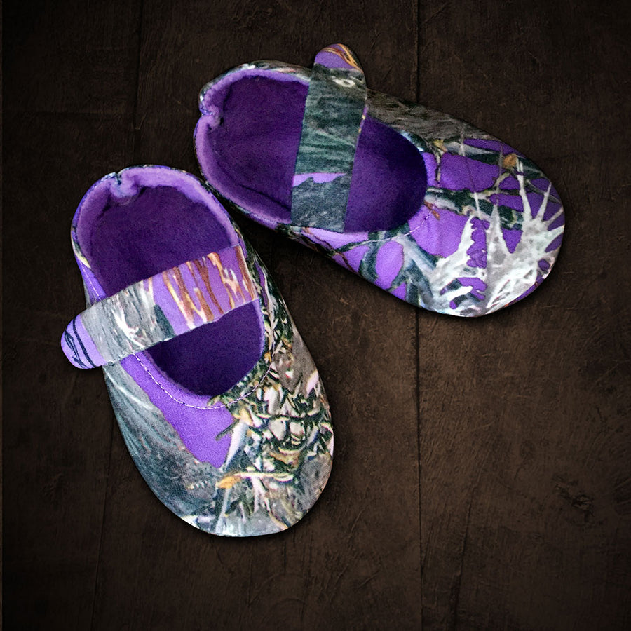 Baby's Slip-on Shoes - Purple Camo with Velcro Strap, Soft Purple Lining