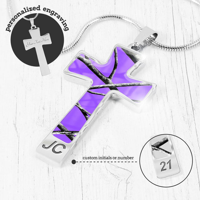 Purple Camo Cross Necklace