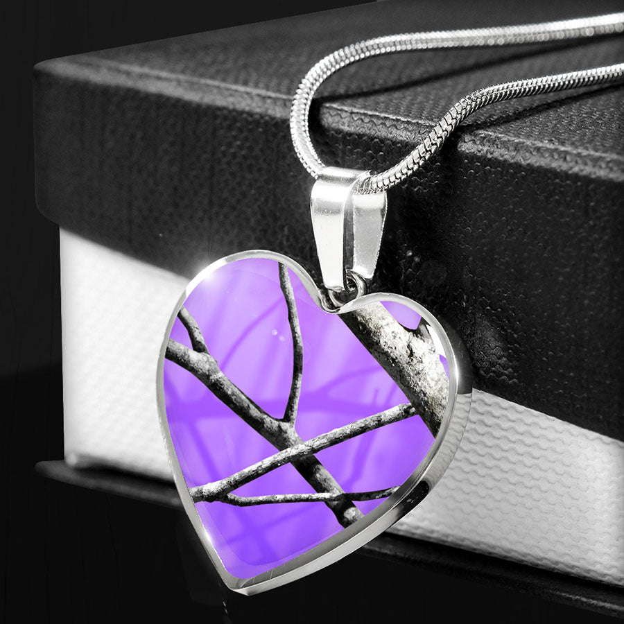 Purple Camo Heart Pendant Necklace