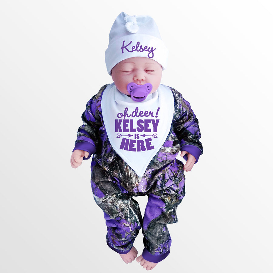 Purple Camo Baby's Jumpsuit with Personalized OH DEER! Hat & Bib