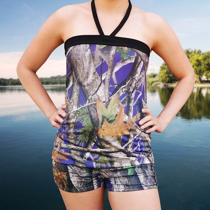 Purple Camo Tankini Top