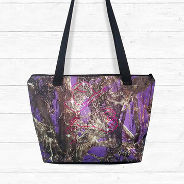 Purple Camo Zip-up Shoulder Bag with Rhinestones