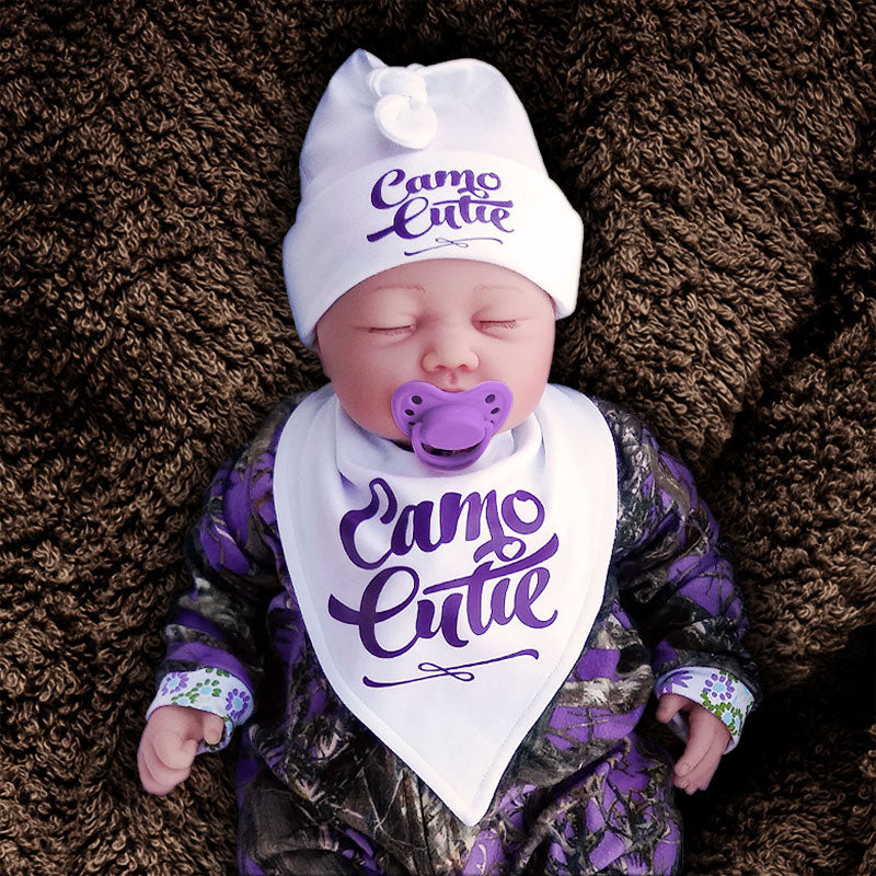 CAMO CUTIE Hat and Bib Set