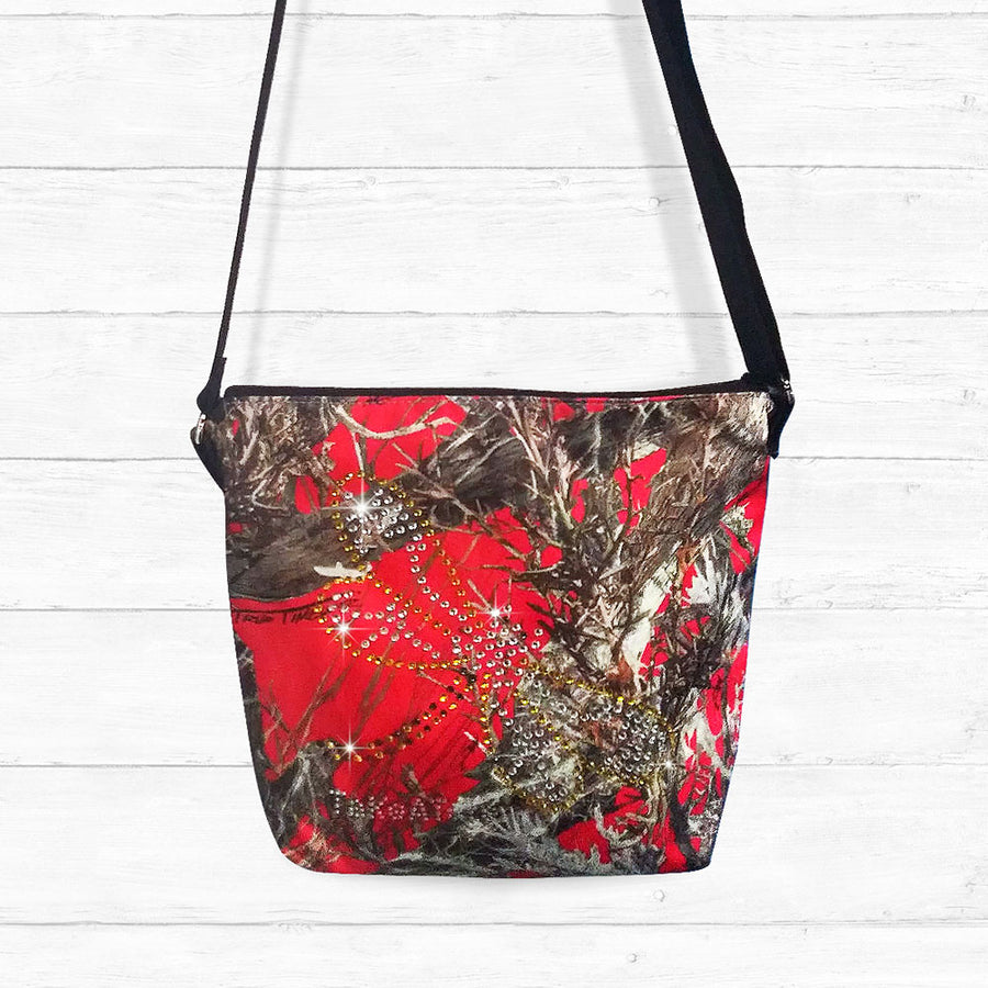 Red Camo Crossbody Bag with Rhinestones