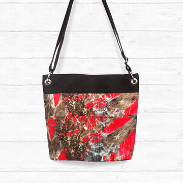 Red Camo Crossbody Bag with Black Trim