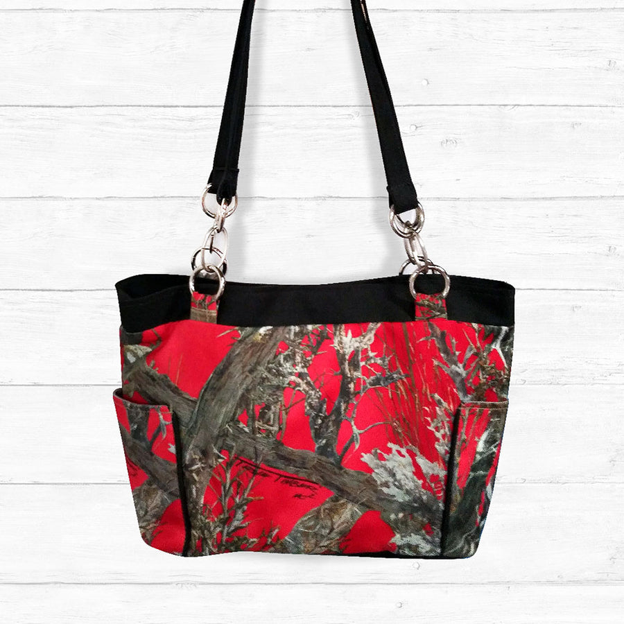 Red Camo Handbag with Black Trim