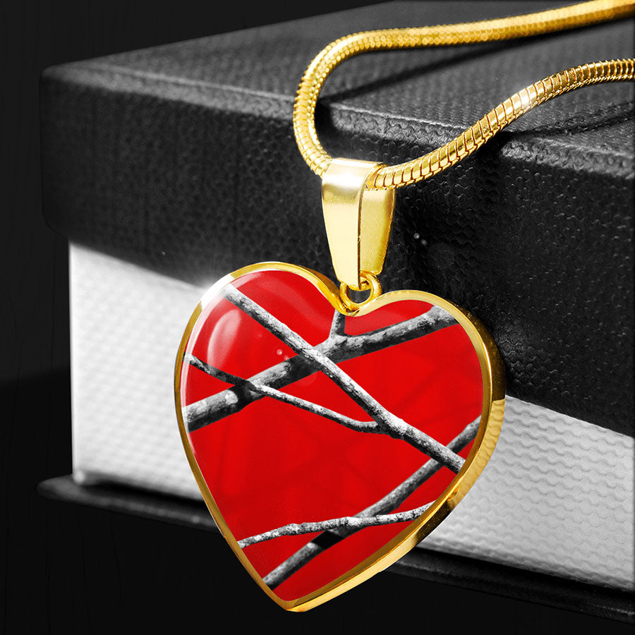 Red Camo Heart Pendant Necklace
