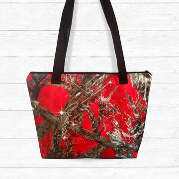 Red Camo Zip-up Shoulder Bag with Rhinestones