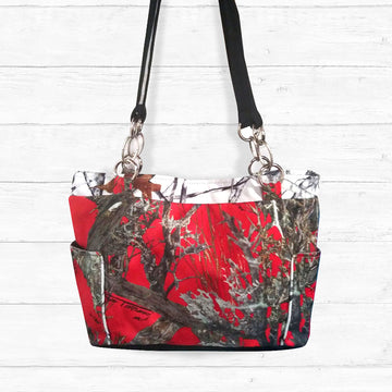 Red Camo Handbag with Snow Camo Trim