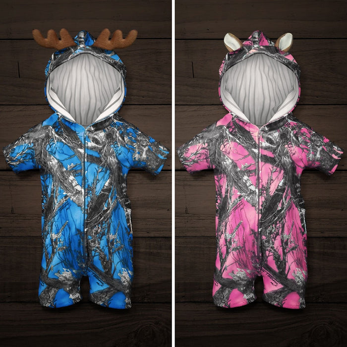 The Short-sleeve Huntsie - Camo Baby Jumpsuit with Front Zipper, Hood and Ears or Antlers