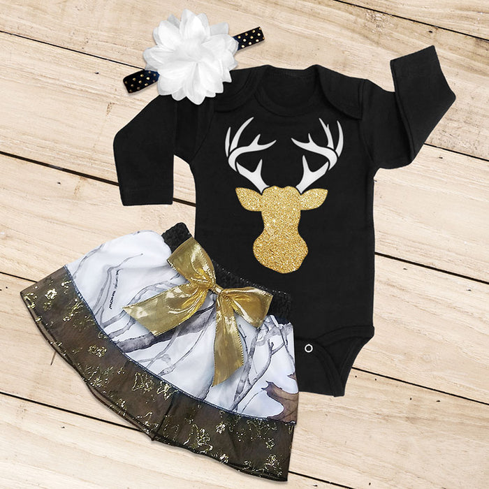 Snow Camo, Black & Gold Skirt Set
