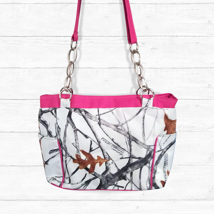 Snowfall Camo Handbag with Pink Trim and Adjustable Handle