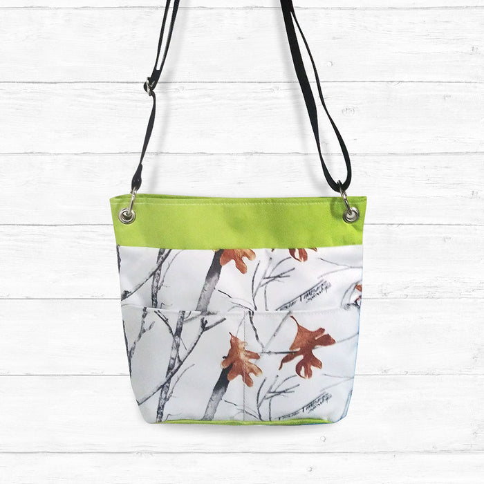 Snow Camo Crossbody Bag with Lime Trim