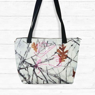 Snowfall Camo Zip-up Shoulder Bag with Rhinestones
