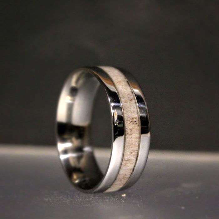 Stainless Steel and Antler Ring
