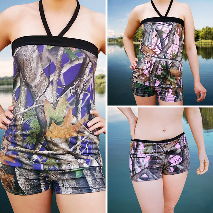 Camo Tankini Top & Shorts Set