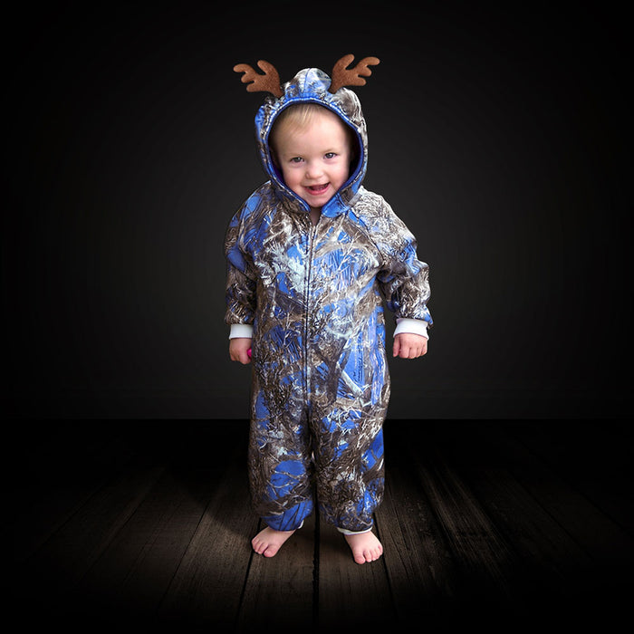 "The ""Huntsie"" Toddler's Blue Camo Fleece Jumpsuit with Hood and Antlers"