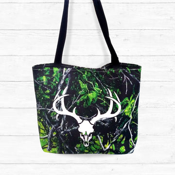 Toxic Camo Tote Bag with Skull and Antlers