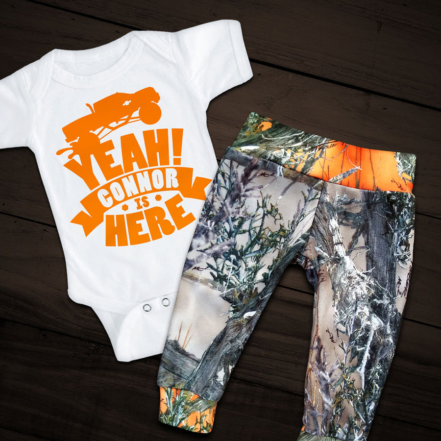 TRUCK YEAH! Personalized Onesie with Camo Pants