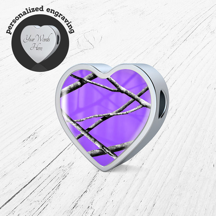 Purple Camo Heart Charm Only