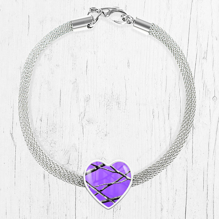 Purple Camo Heart Charm Bracelet