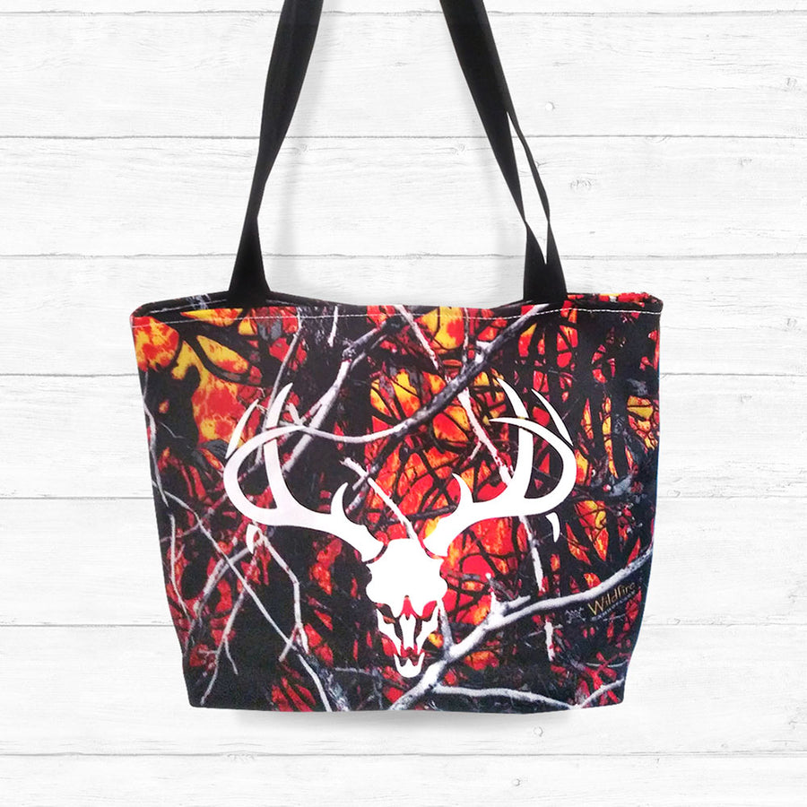 Wildfire Camo Tote Bag with Skull and Antlers