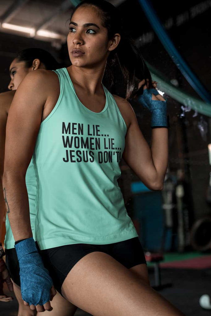 Men Lie, Women Lie, Jesus Don't - Ladies' Racerback Tank